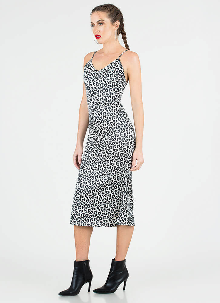 Spot On Silky Leopard Slip Dress LEOPARD