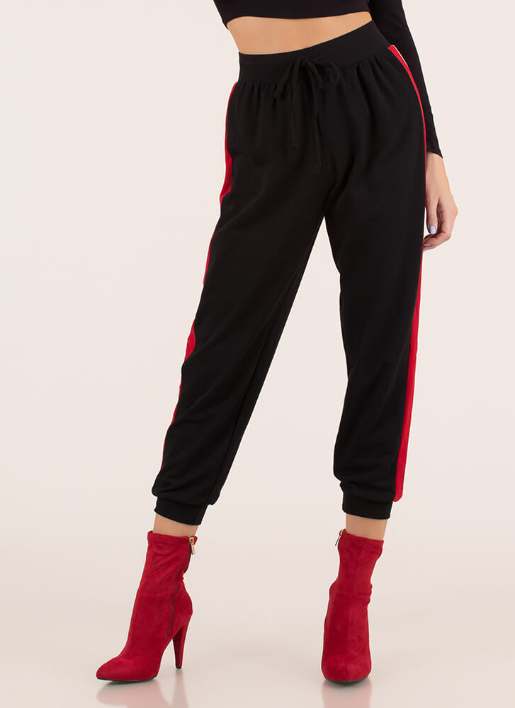 At Your Leisure Sporty Striped Joggers BLACK