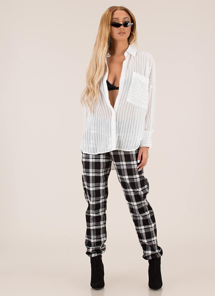 Gimme A Pleat Oversized Button-Up Blouse WHITE
