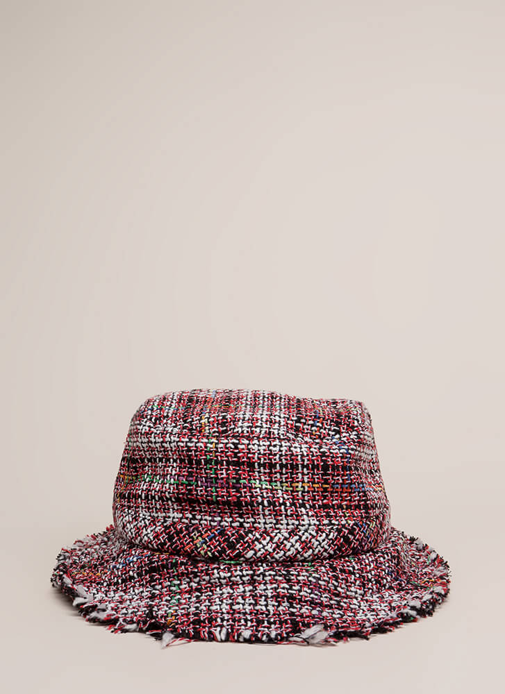 In The Tweeds Fringed Bucket Hat RED (Final Sale)