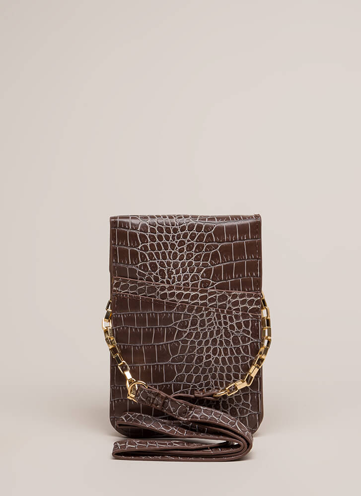 Play The Scales Flat Knotted Mini Clutch BROWN