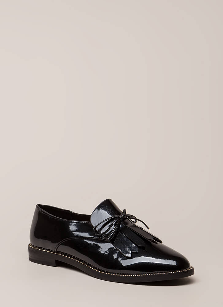My Style Fringed Faux Patent Loafers BLACK