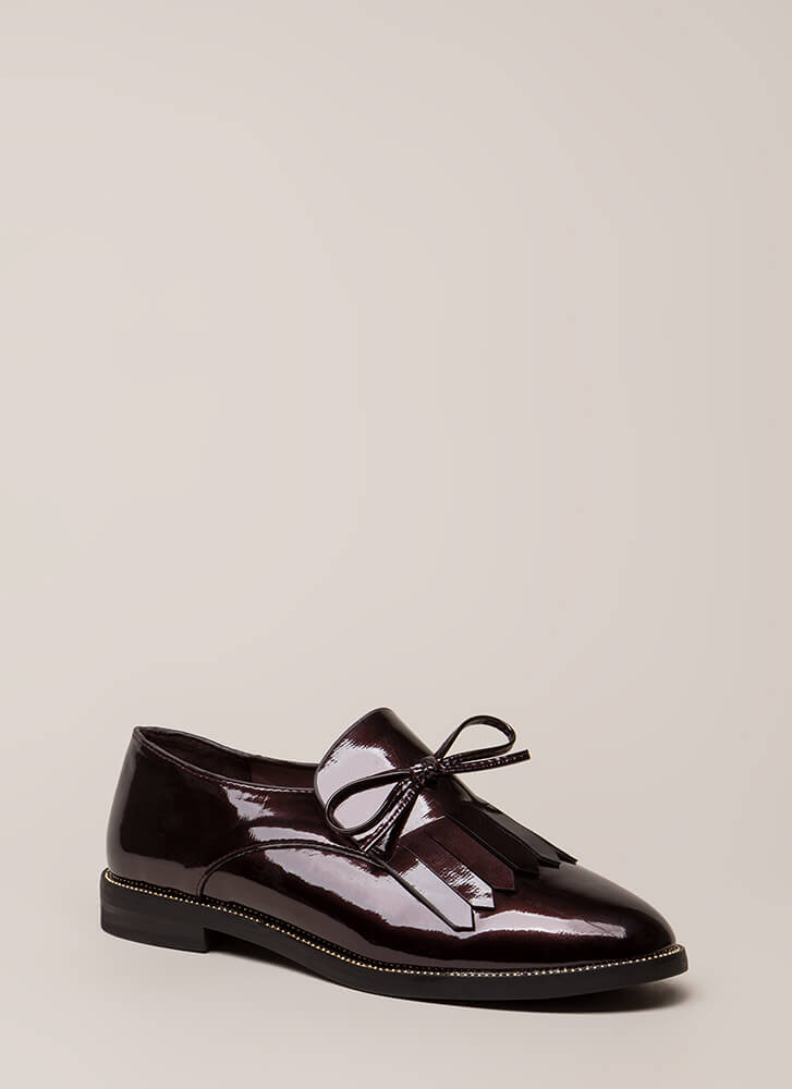 My Style Fringed Faux Patent Loafers BURGUNDY