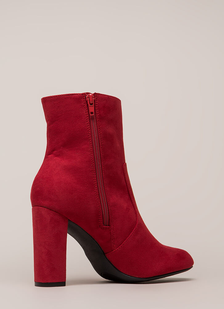 Chunky Fresh Faux Suede Booties RED