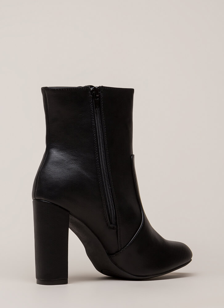 Chunky Fresh Faux Leather Booties BLACK