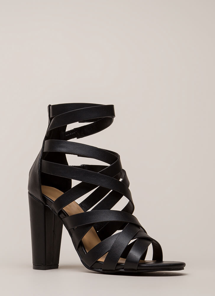 Strap Frenzy Chunky Caged Heels BLACK