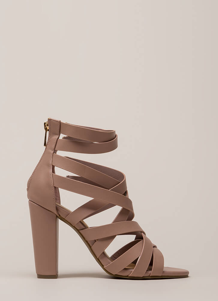 Strap Frenzy Chunky Caged Heels DKBLUSH
