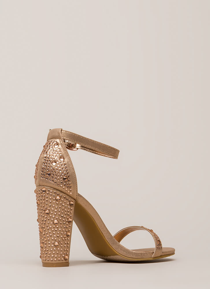 Shimmer Chunky Metallic Jeweled Heels ROSEGOLD