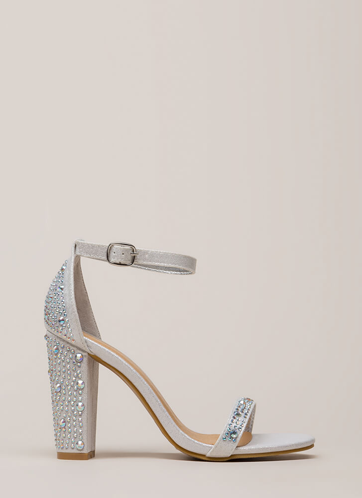 Shimmer Chunky Metallic Jeweled Heels SILVER