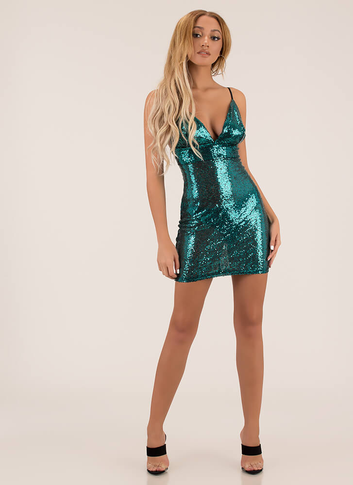 Showstopper Sequined Minidress EMERALD