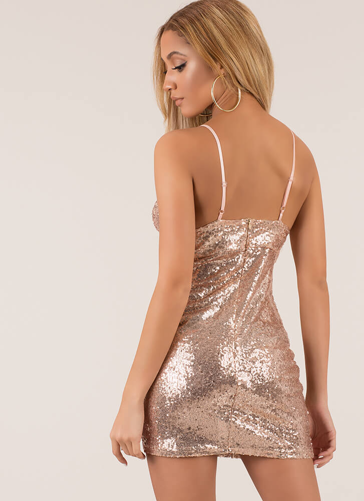 Showstopper Sequined Minidress ROSEGOLD