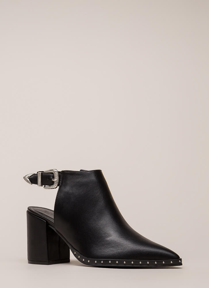 All In The Details Pointy Block Heels BLACK