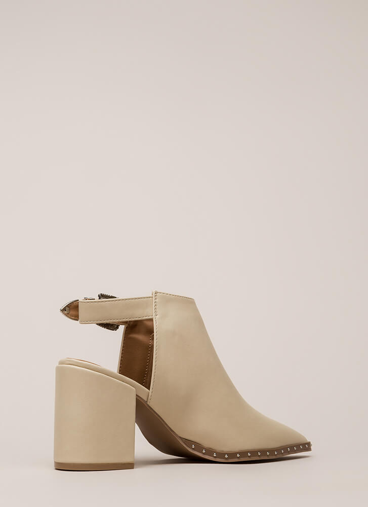All In The Details Pointy Block Heels STONE