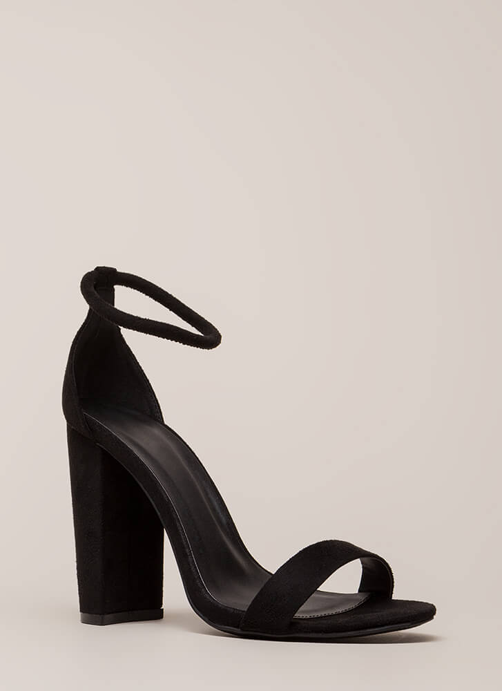 Easy Decision Chunky Faux Suede Heels BLACK