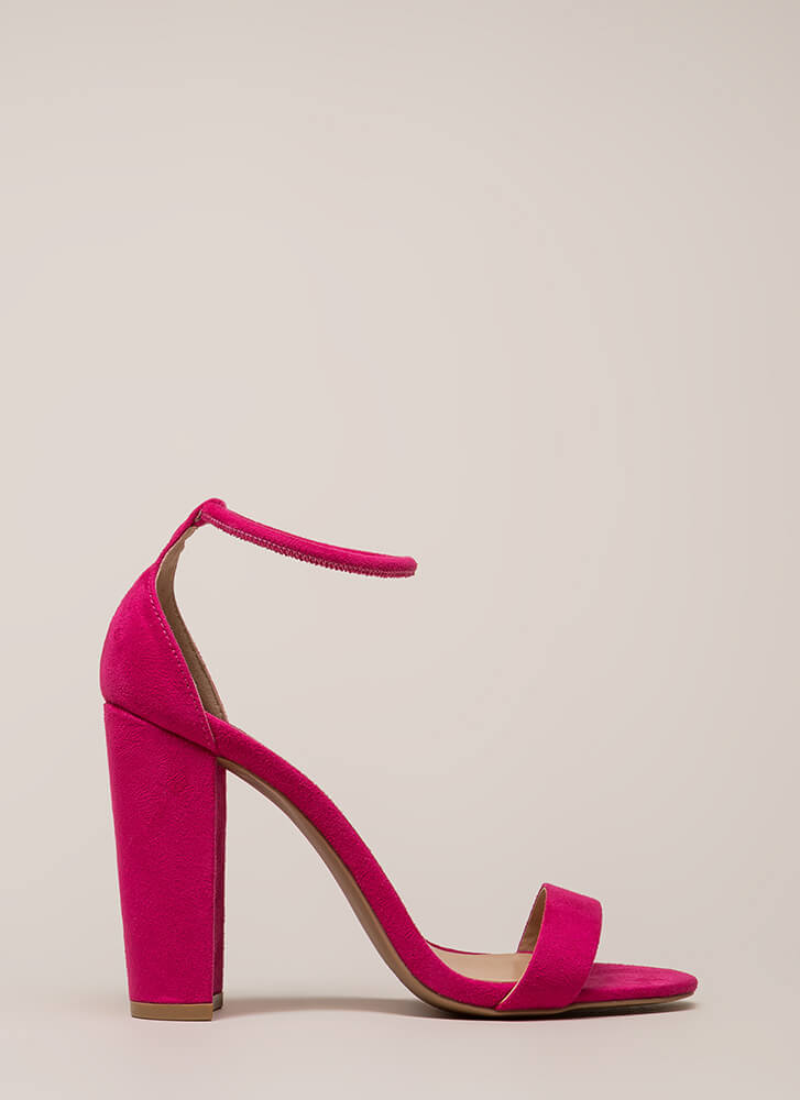 Easy Decision Chunky Faux Suede Heels FUCHSIA