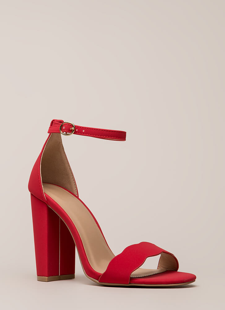 Cute Pick Scalloped Chunky Heels RED