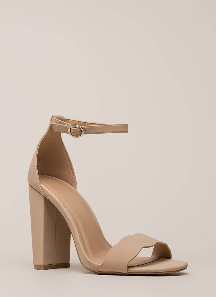Cute Pick Scalloped Chunky Heels WARMTAUPE