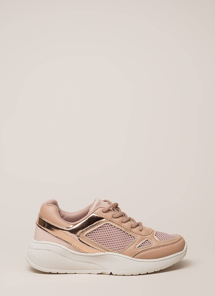 Meshin' Accomplished Platform Sneakers NUDE