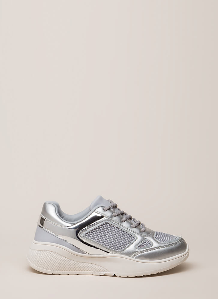 Meshin' Accomplished Platform Sneakers SILVER