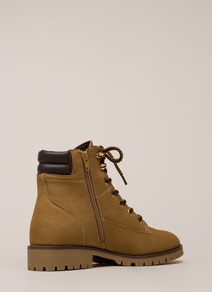 It's In The Details Lug Sole Work Boots CAMEL