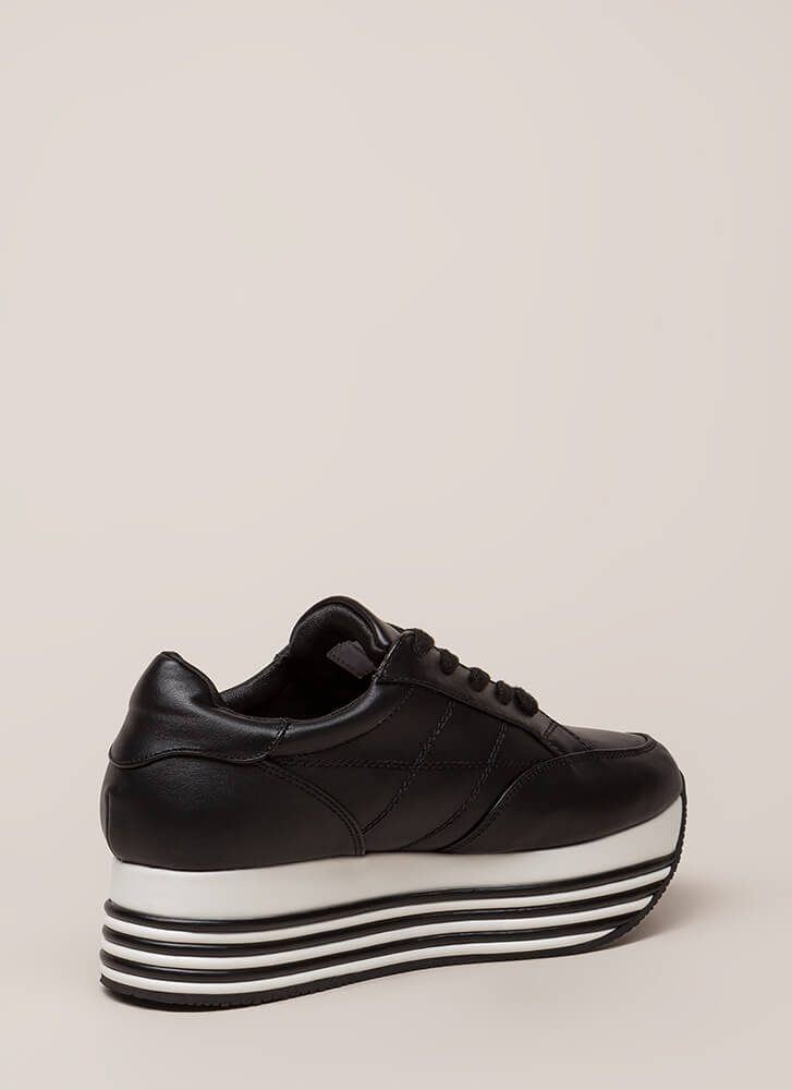 Highline Striped Platform Sneakers BLACK (You Saved $35)
