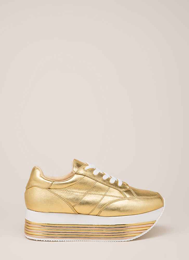Highline Striped Platform Sneakers GOLD (You Saved $35)
