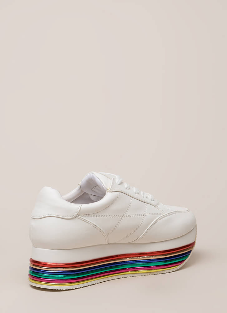 Highline Striped Platform Sneakers WHITE (You Saved $35)