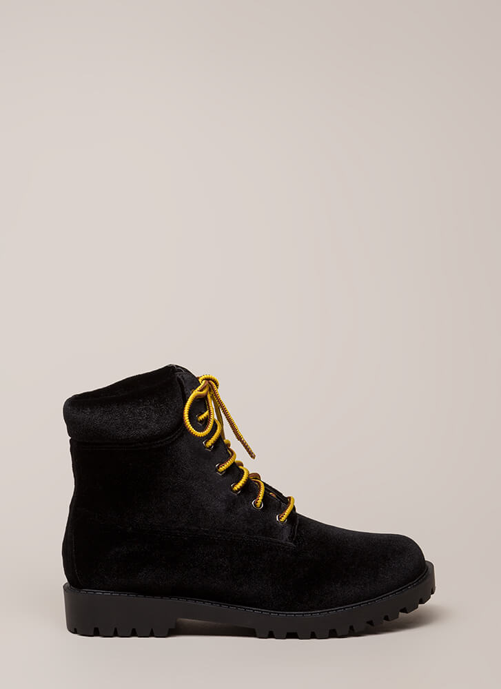 Hard And Soft Velvet Work Boots BLACK