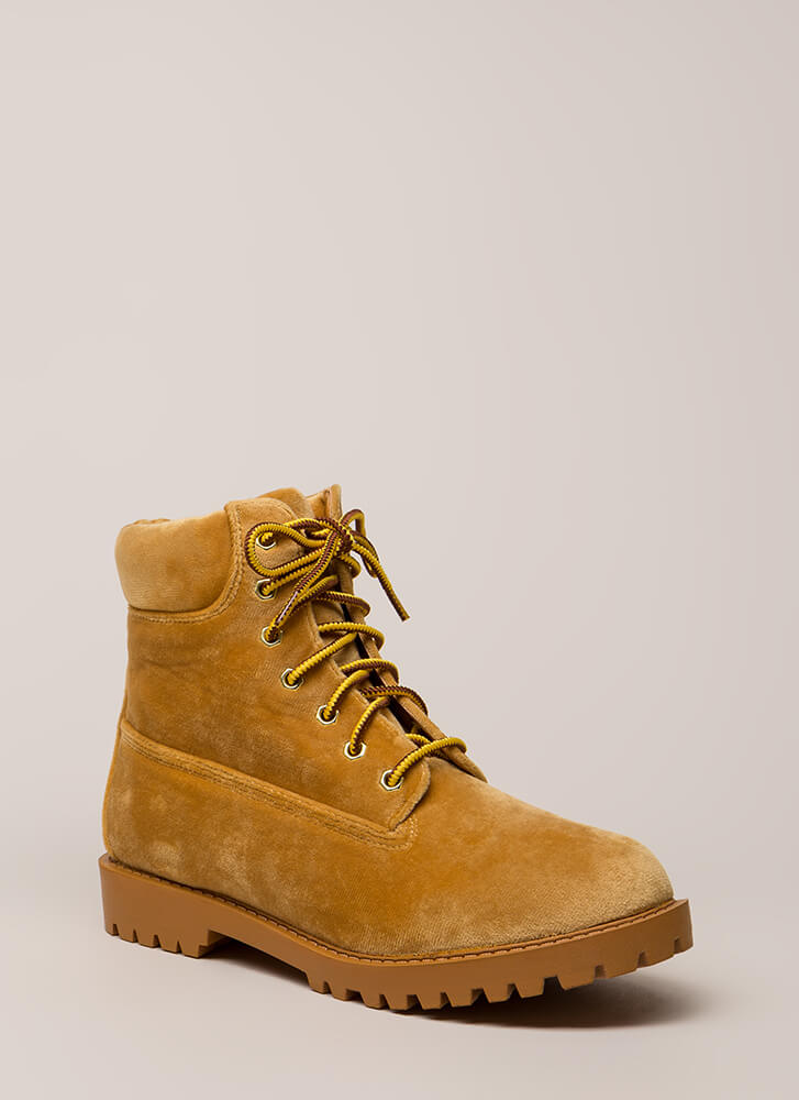 Hard And Soft Velvet Work Boots CAMEL