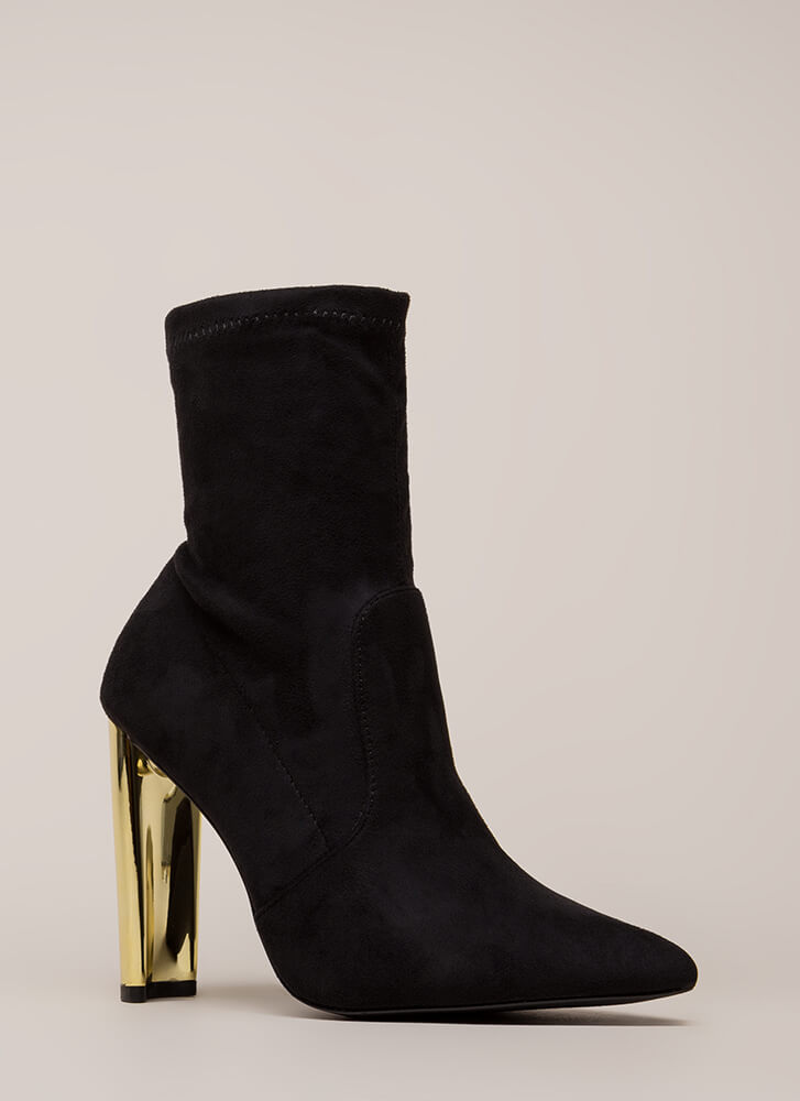 Shine Factor Pointy Chunky Booties BLACK