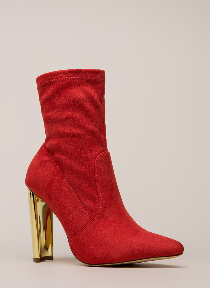 Shine Factor Pointy Chunky Booties RED