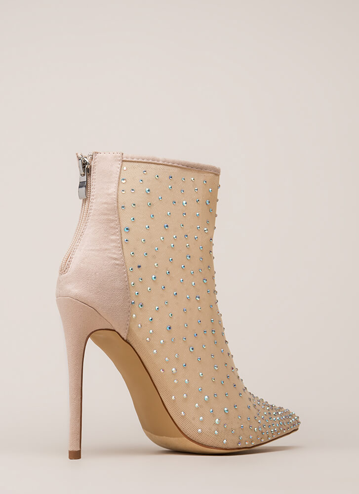 Serious Sparkle Pointy Jeweled Booties NUDE