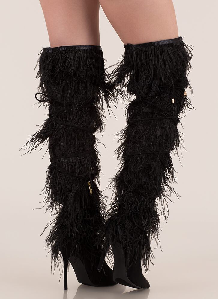 Feather Fashion Tied Thigh-High Boots BLACK