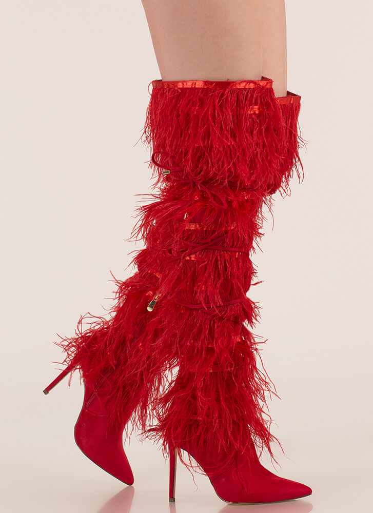 Feather Fashion Tied Thigh-High Boots RED