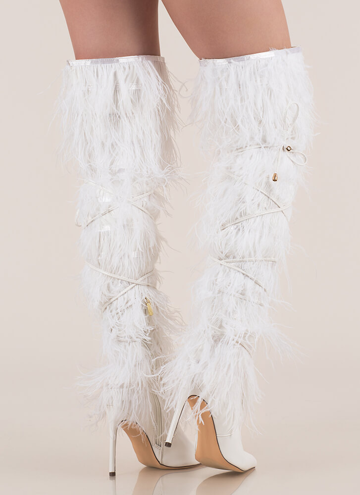 Feather Fashion Tied Thigh-High Boots WHITE