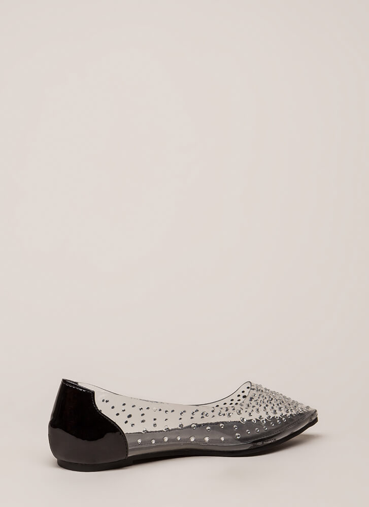 Clearly Sparkling Pointy Jeweled Flats BLACK