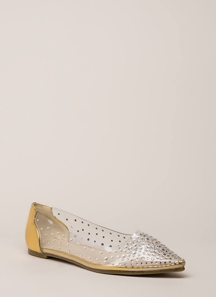 Clearly Sparkling Pointy Jeweled Flats GOLD