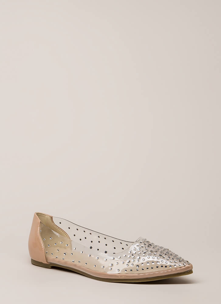 Clearly Sparkling Pointy Jeweled Flats NUDE