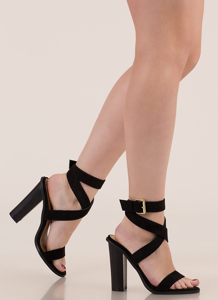 X Marks The Strappy Chunky Heels BLACK (Final Sale)