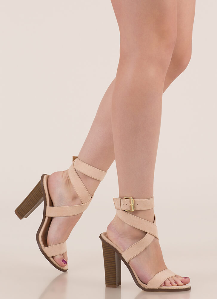 X Marks The Strappy Chunky Heels NUDE