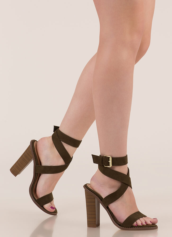 X Marks The Strappy Chunky Heels OLIVE
