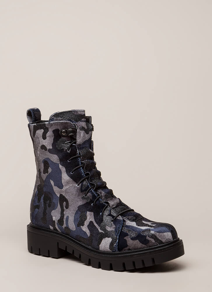 Camo Couture Velvet Combat Boots BLUE (Final Sale)