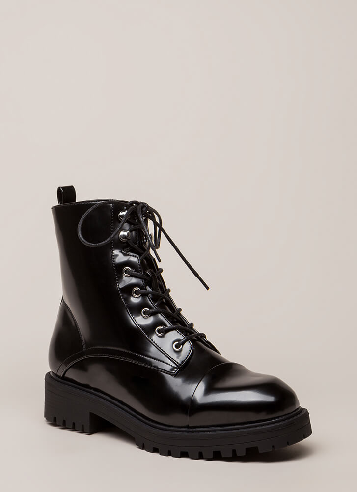 Smooth Ride High-Shine Combat Boots BLACK