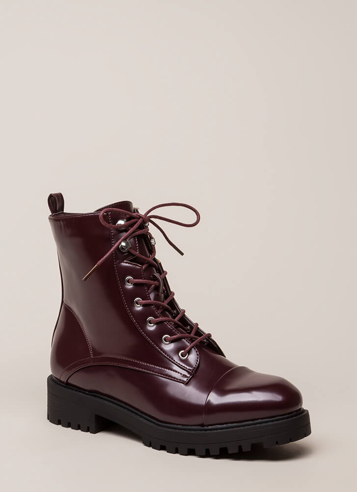 Smooth Ride High-Shine Combat Boots OXBLOOD