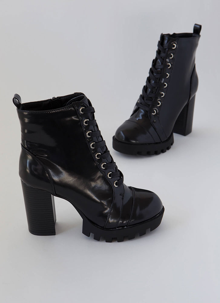 Little Punk Chunky High-Shine Booties  BLACK