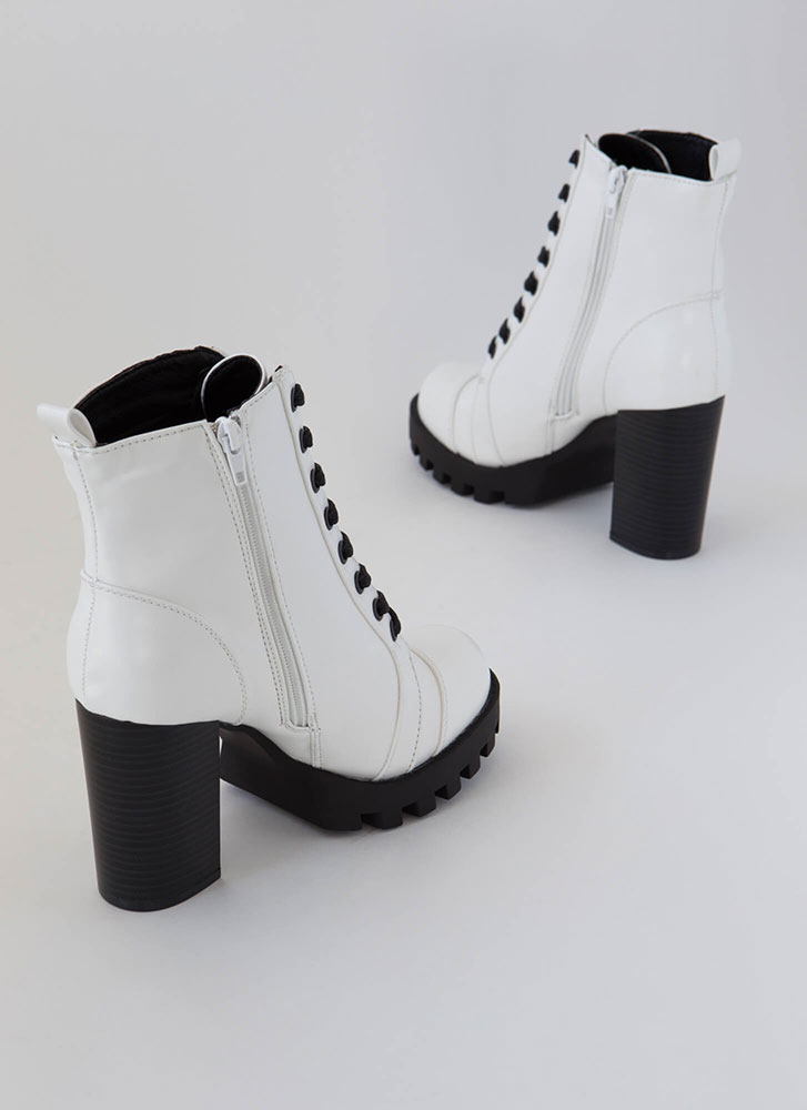 Little Punk Chunky High-Shine Booties  WHITE