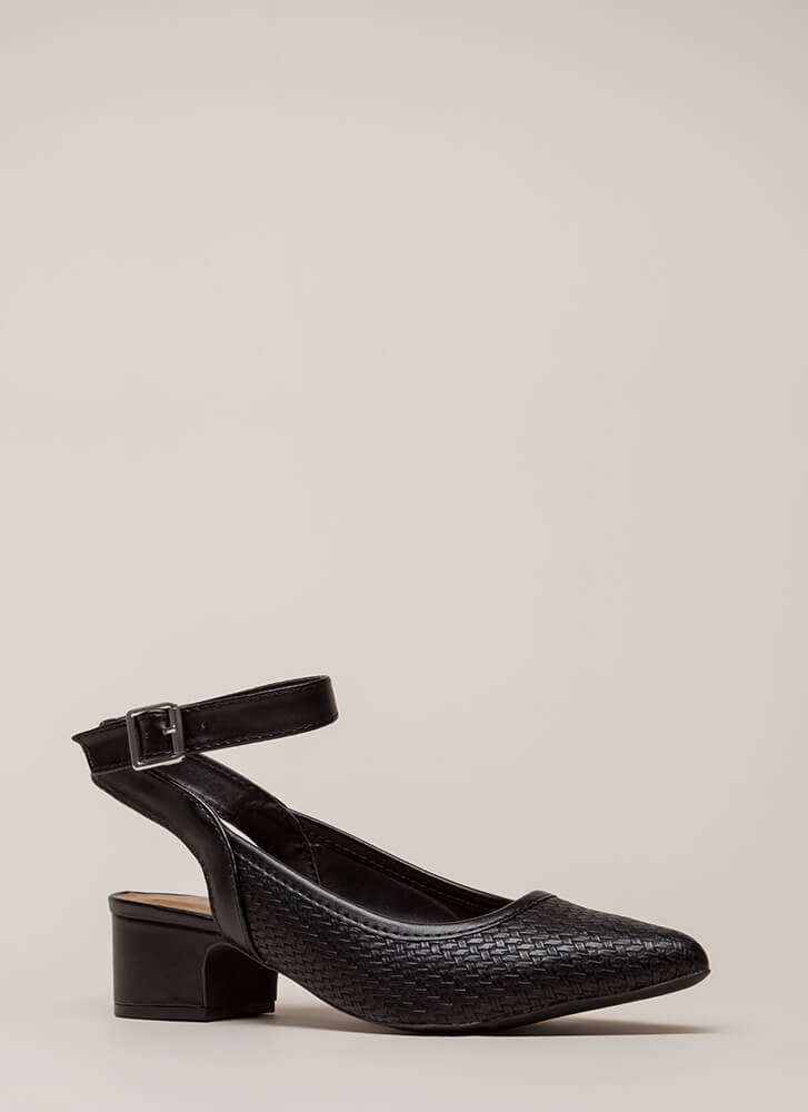 Weave A Tale Backless Block Heels BLACK