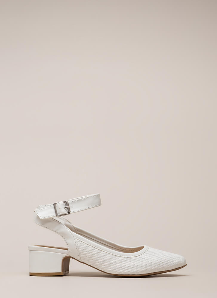 Weave A Tale Backless Block Heels WHITE