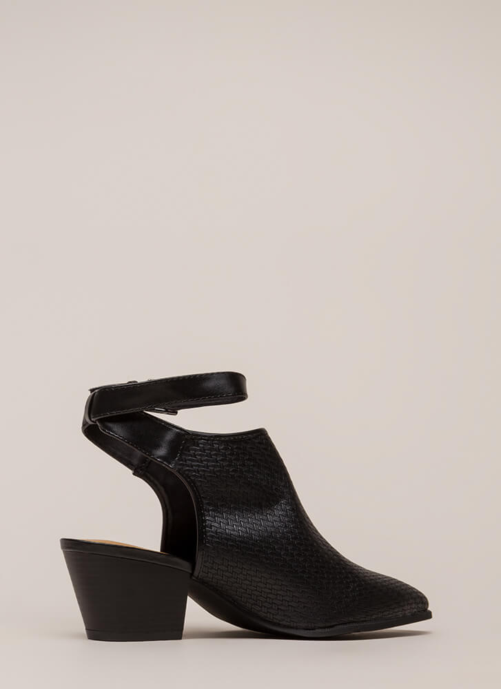 Weave A Tale Backless Block Booties BLACK