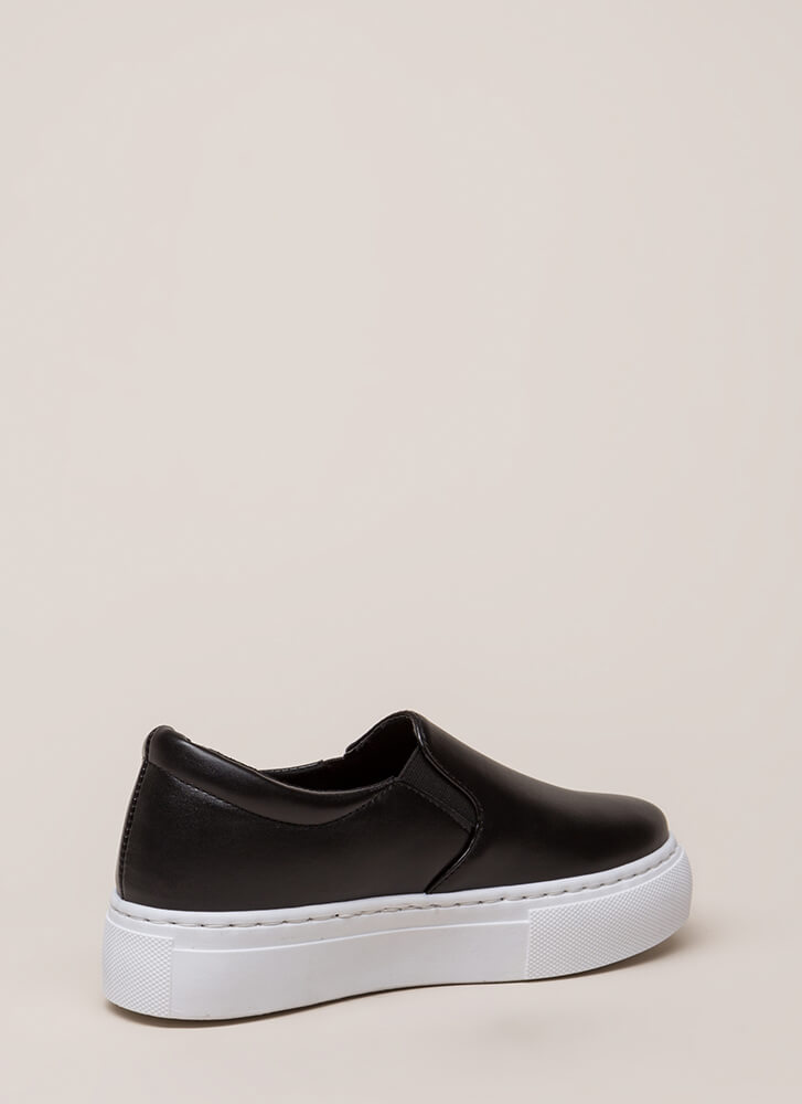 Get Thick Faux Leather Platform Sneakers BLACK